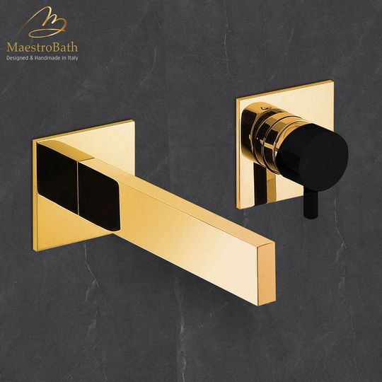 Ultra Modern Two Hole Bathroom Faucet | Polished Gold
