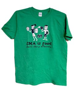 SMA Life is Good design Adult Tee; Heather Irish Green