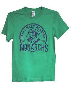 SMA Lion Adult Tee; Heather Irish Green
