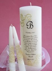 FRENCH LACE 1 CORINTHIANS 13 WEDDING UNITY CANDLE w/TAPERS