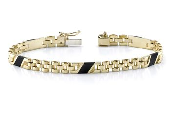 14K GOLD LADIES' DESIGN ONYX BRACELET