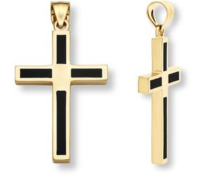 14K GOLD ONYX CROSS PENDANT - 1x3/4