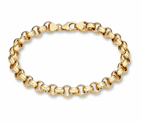 14K SOLID GOLD ROLO BRACELET - 14k Yellow or White Gold