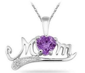Amethyst and Diamond Heart MOM Pendant in .925 Sterling Silver