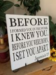 Before I Formed You In The Womb Christian Wall Decor
