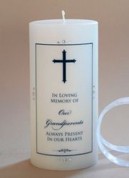 Finial Cross Christian Memorial Candle