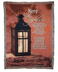 Keep The Light On Tapestry Throw