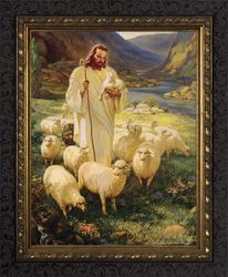 Good Shepherd by Warner Sallman - Dark Ornate Framed Art