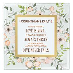 I Corinthians 13:4, 7-8 Framed Tabletop Christian Home Decor