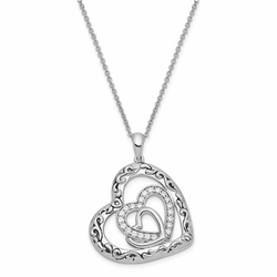"""My Blended Family 18"""" Sterling Silver CZ Antiqued Necklace"""