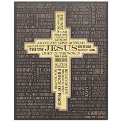NAMES OF JESUS WITH CROSS WALL PLAQUE