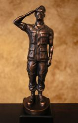 Saluting US Army Soldier With Beret Sculpture by Niels Andersen