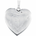 Sterling Silver Heart Locket Engraved with Cross