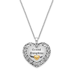 """To My Special Granddaughter Sterling Silver And Gold-Plated Antiqued 18"""" Necklace"""