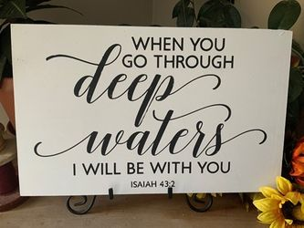 When You Go Through Deep Waters Christian Wall Decor