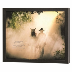 You Will Go Out in Joy, Cowboy and Horse - Framed Print