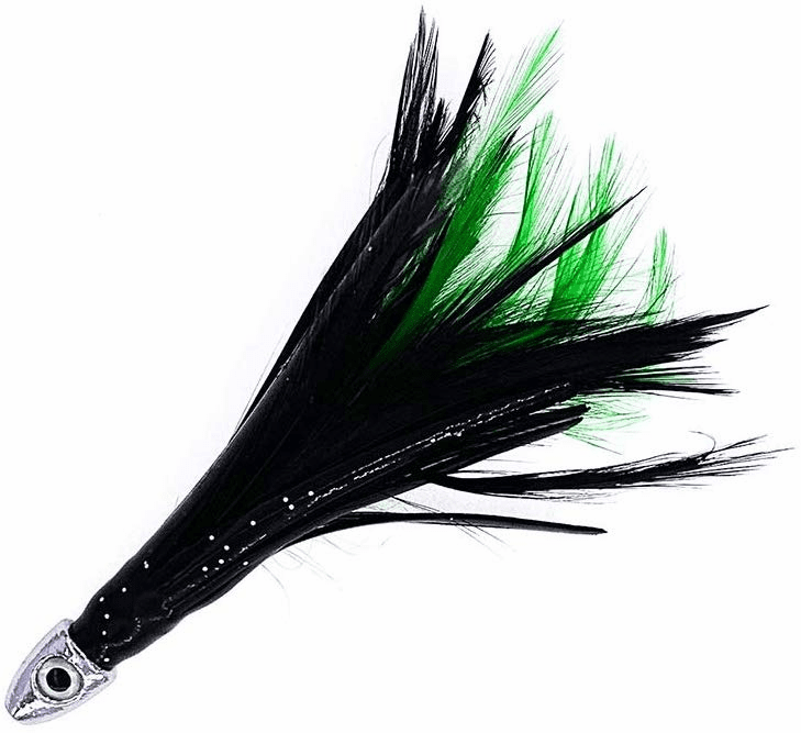 "1/2oz 4"" Chrome Feather - Black Green - 6 Pcs"