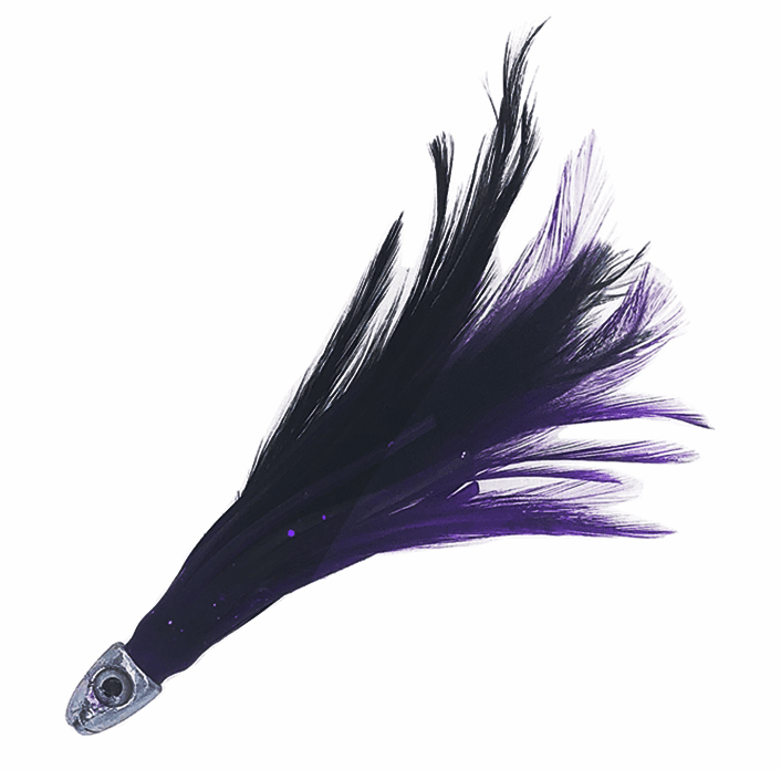 "1/2oz 4"" Chrome Feather - Black Purple - 6 Pcs"