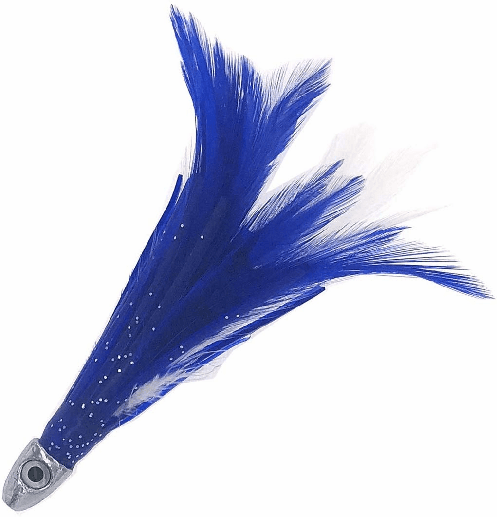 "1/2oz 4"" Chrome Feather - Blue White - 6 Pcs"