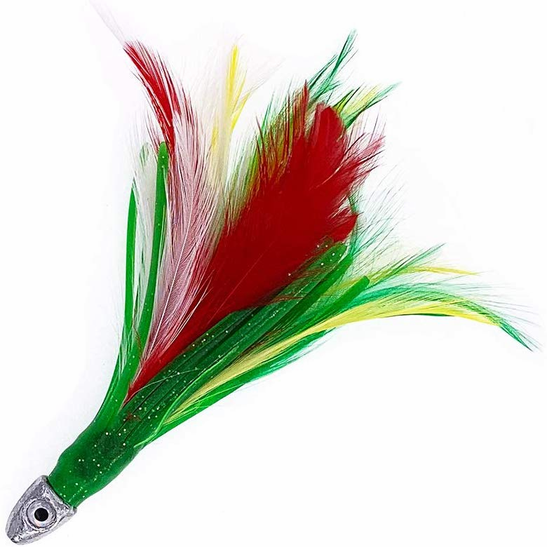 "1/2oz 4"" Chrome Fishing Feather - Mexican Flag - 6 Pcs"