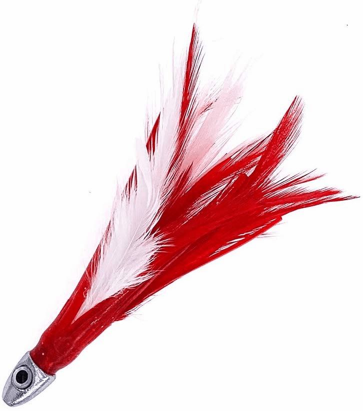 1/2oz Chrome Feather - Red White - 6 Pcs