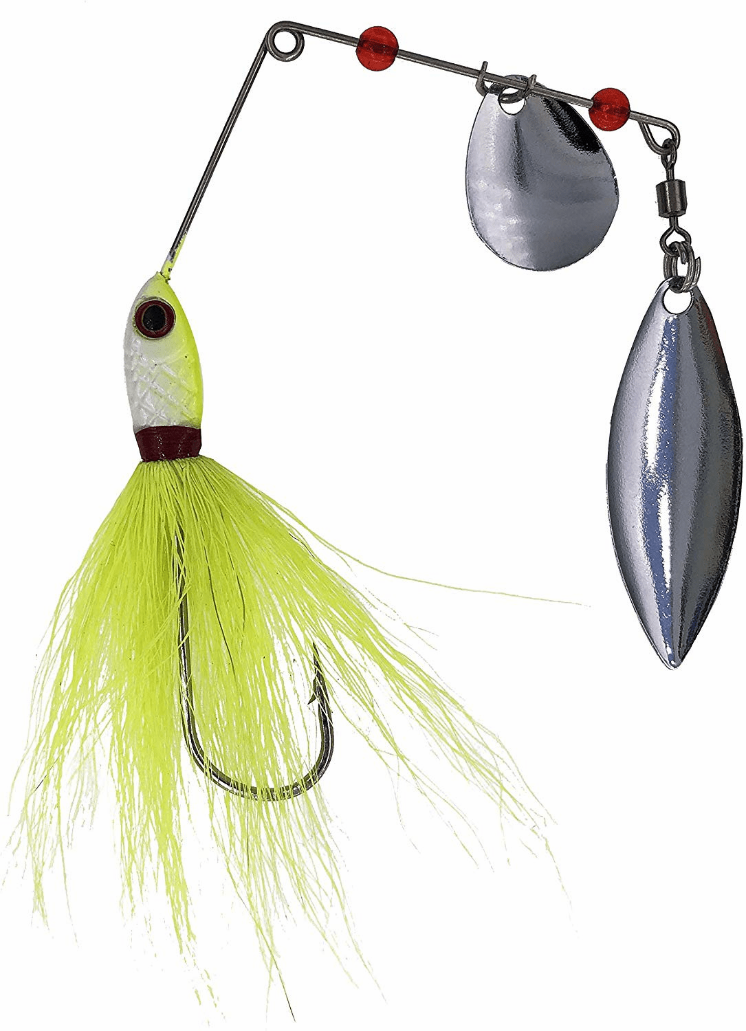 1/4oz Bucktail Spinnerbaits 6 Pieces Chartreuse/White