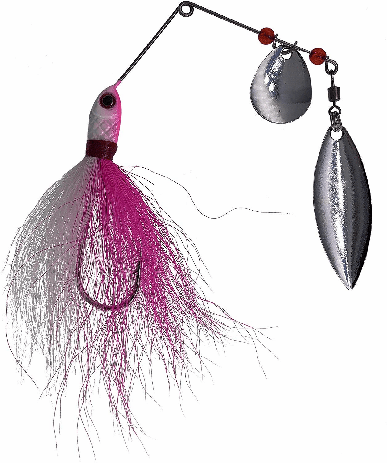 1/4oz Bucktail Spinnerbaits 6 Pieces Pink/White