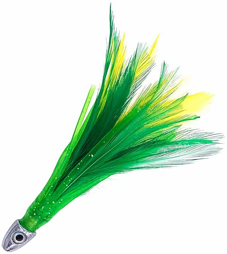"5"" Chrome Feathers - Green/Yellow - 2oz - 10 Pcs - Item # 883 by Sanhu"
