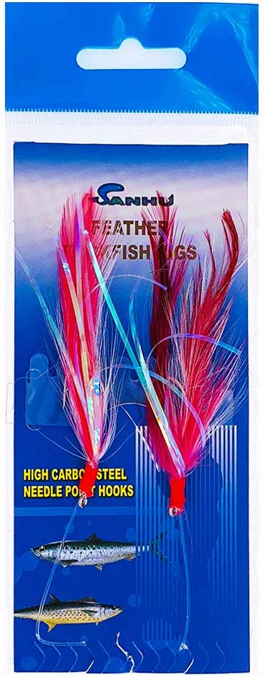 Rock Cod Feather Rigs 3/0 Red/white - 10 Packs - Item # 477