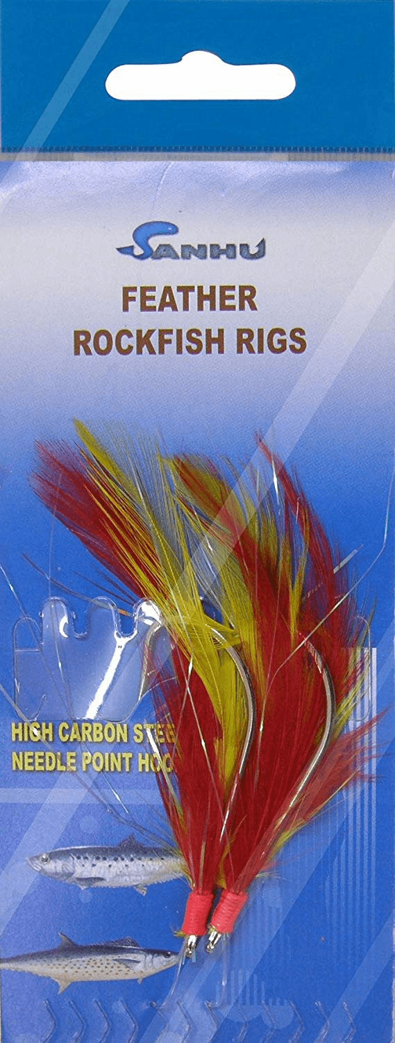 Rock Cod Feather Rigs 3/0 Red/Yellow-10 Packs