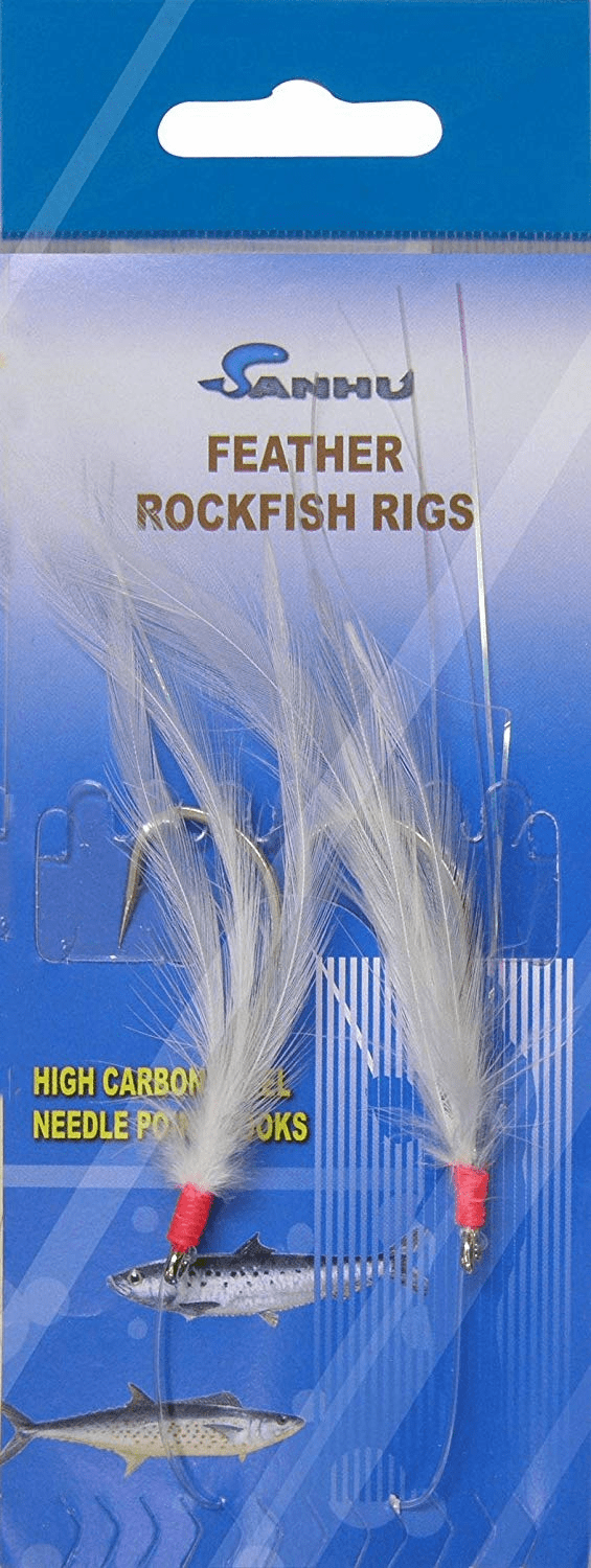 Rock Cod Feather Rigs 3/0 White - 10 Packs