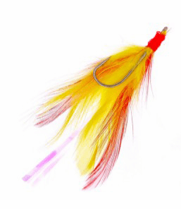 Rockcod Feather Hooks - Hook Size 3/0 - Red/Yellow
