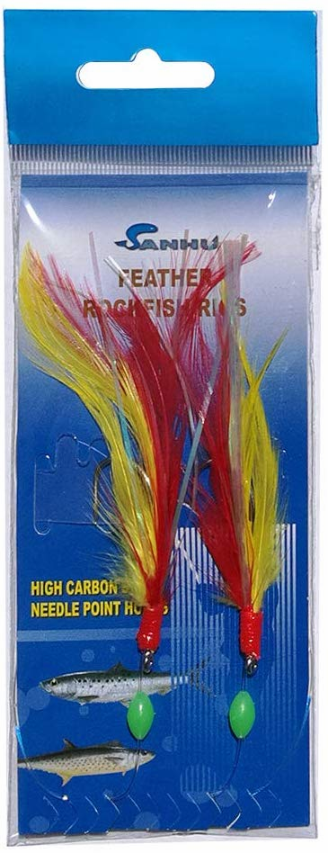 Sanhu Rock Cod Feather Rigs 5/0 Red/Yellow 12 Packs