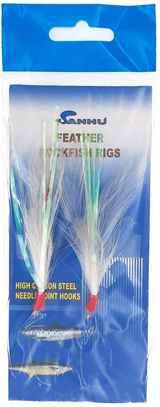 Sanhu Rock Cod Feather Rigs 5/0 White 12 Packs