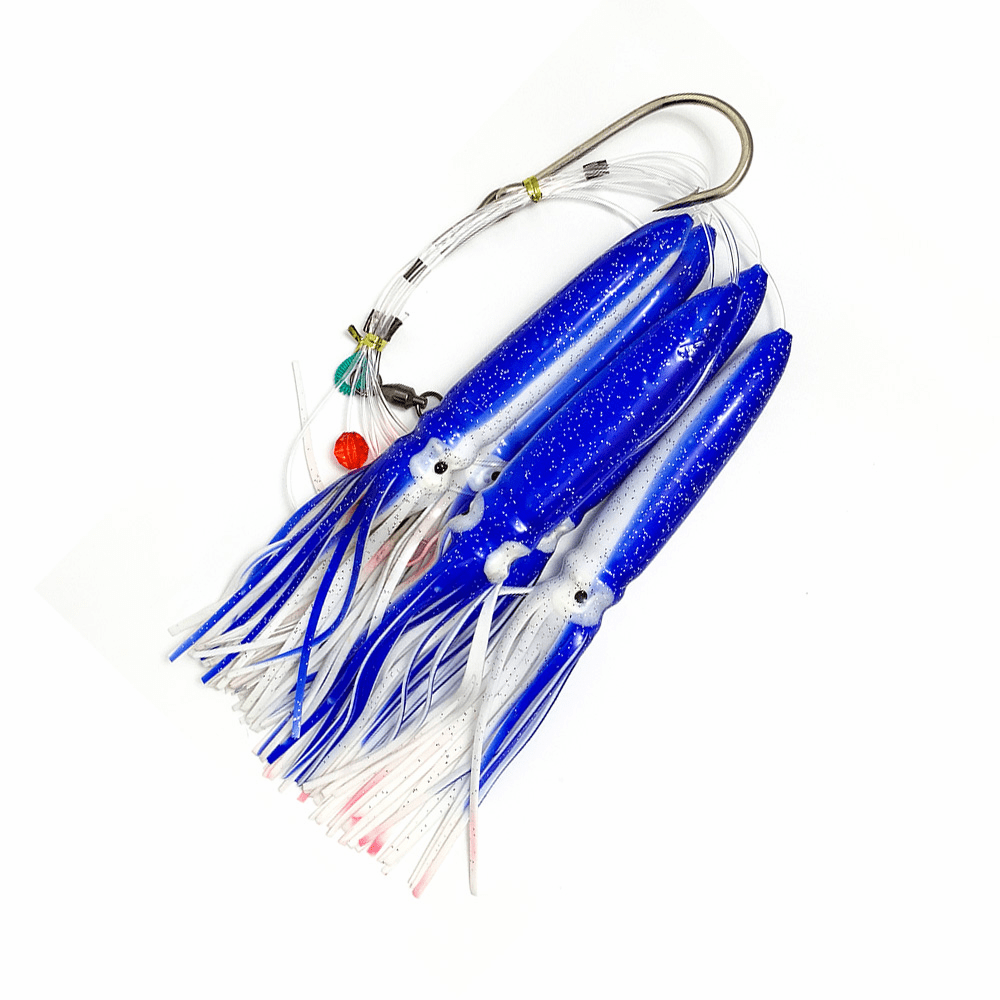 Shell Squid Daisy Chain - Blue/White - 1pc - w/Single Lure Bag - Item # 220