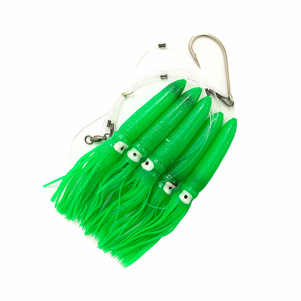 Shell Squid Daisy Chain - Green - 1pc - W/Single Lure Bag - Item # 227