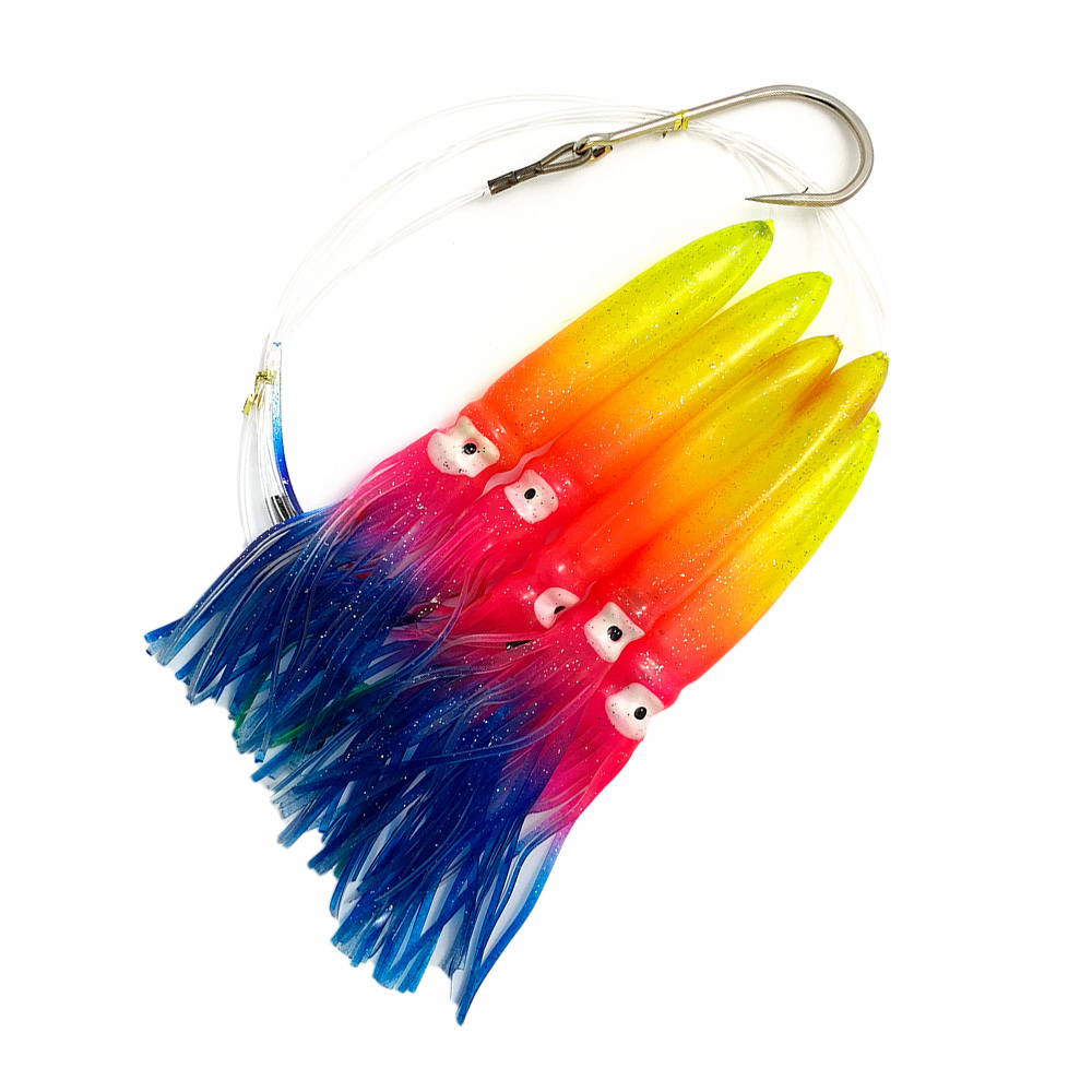 Shell Squid Daisy Chain - Rainbow - 1pc - W/single Lure Bag - Item # 229