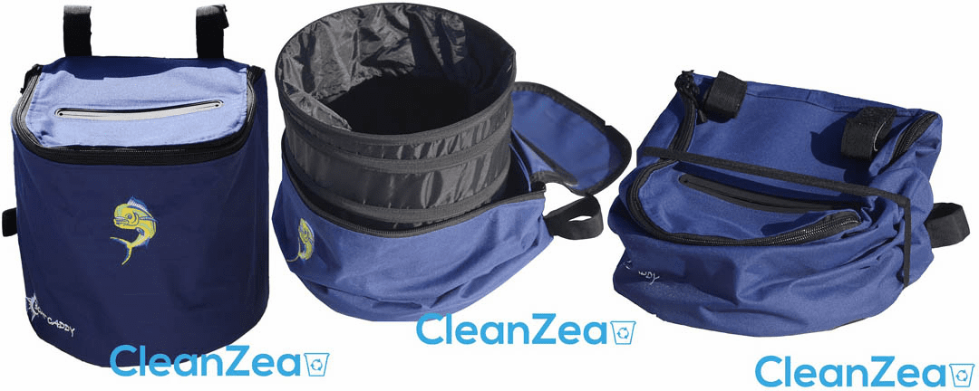 CleanZea Caddy - Easy to mount, soft sided ecofriendly marine trash receptacle - Free Shipping