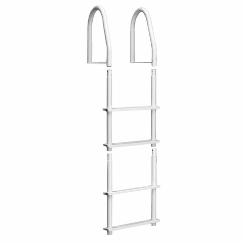 Dock Edge Fixed 4 Step Ladder Bright White Galvalume