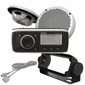 FUSION RA-50KTSCB Bundle - Includes MS-RA50 Receiver, MS-EL602 Speakers, MS-HUGMS Gimbal Mount & MS-IP15L3 iPod Cable
