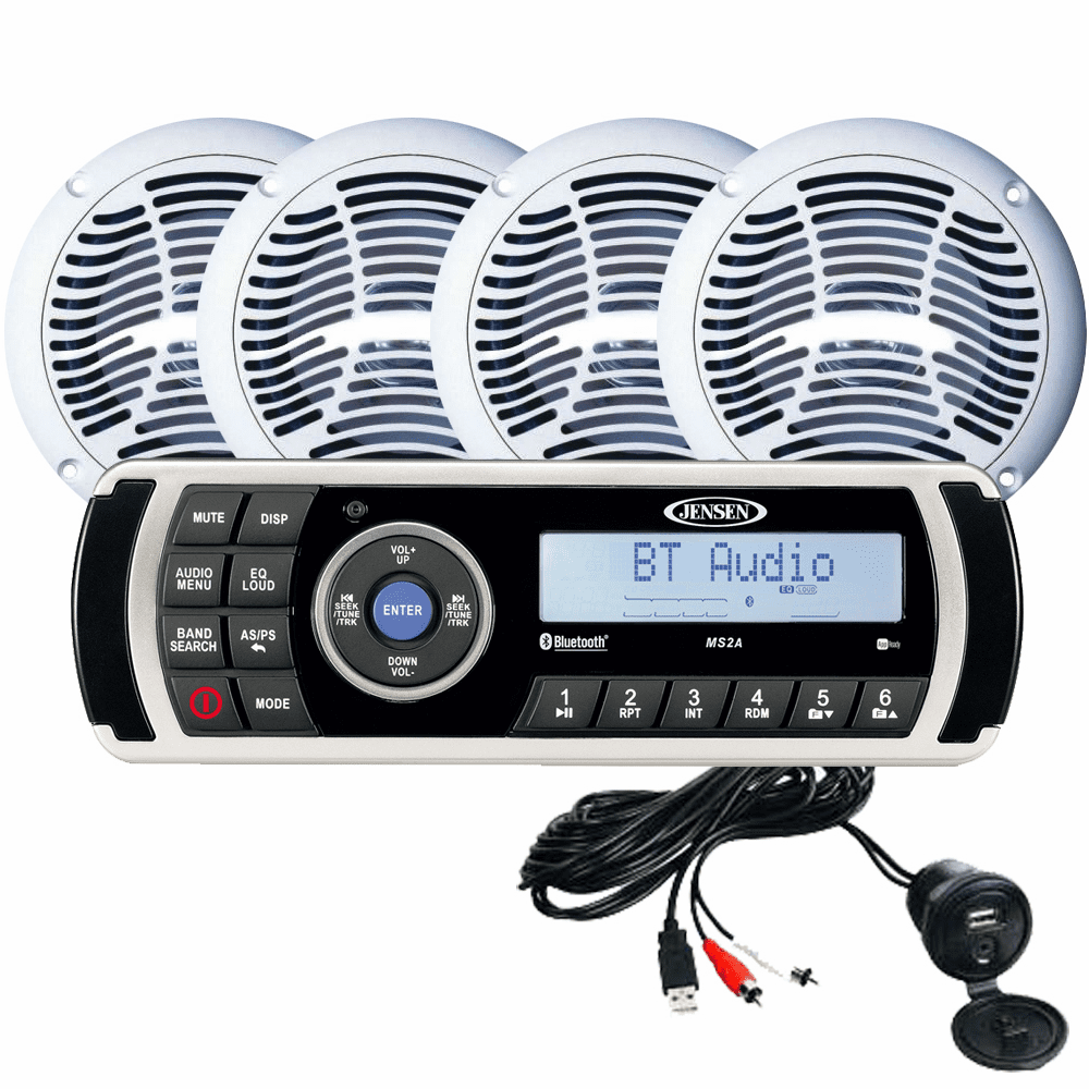 Jensen CPM200 AM/FM/USB Waterproof Bluetooth Stereo Pack w/4 Speakers, MS2A Radio & Aux Input
