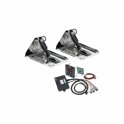 "Lenco 16"" x 12"" Heavy Duty Performance Trim Tab Kit with Standard Tactile Switch Kit 12V"