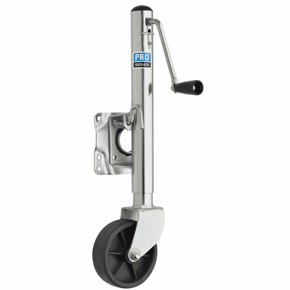 "Pro Series 1000 lbs. Zinc Plated Swivel Jack w/6"" Poly Wheel"