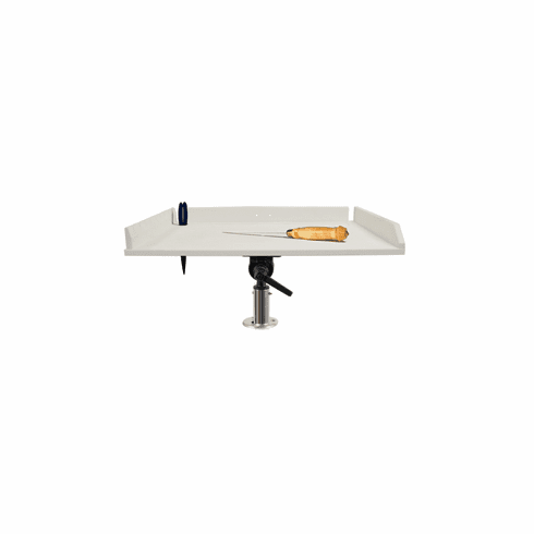 """Taco Metals 32"""" Poly Filet Table with Adjustable Gunnel Mount - White"""