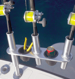 Tigress Offset Triple Rod Holder with Storage Cup Holders