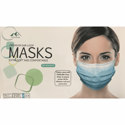 Wisehome Disposable Surgical Mask Medical Industry Dust Ear-loop Face Mask 50 Pack