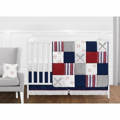 Baseball Patch Collection 11 Piece Bumperless Crib Bedding