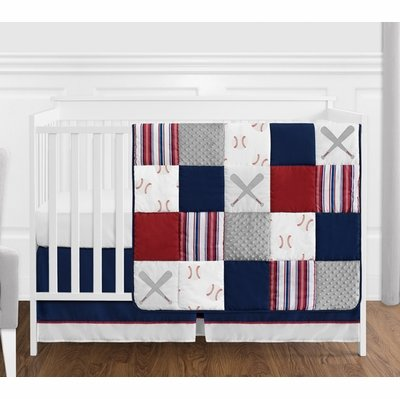 Baseball Patch Collection 4 Piece Bumperless Crib Bedding