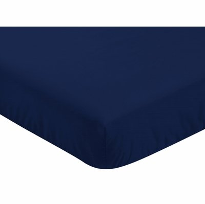 Baseball Patch Collection Crib Sheet - Solid Navy Blue