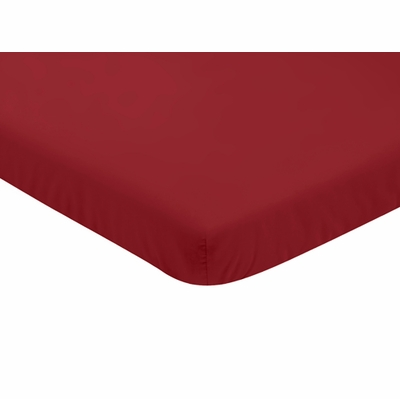 Baseball Patch Collection Mini Crib Sheet - Solid Red